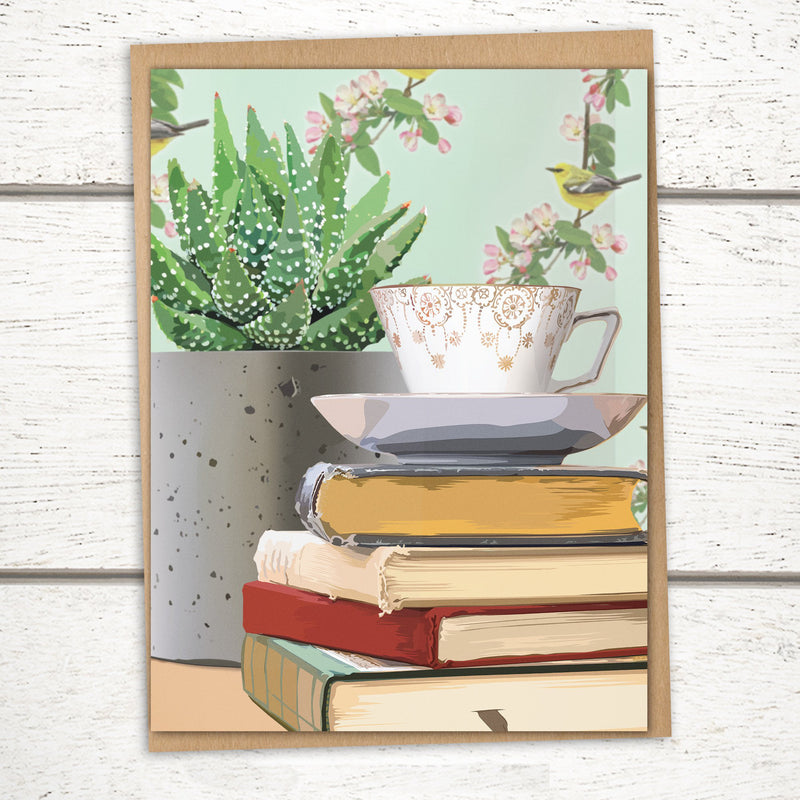 'Teacup & Succulent' Greeting Card