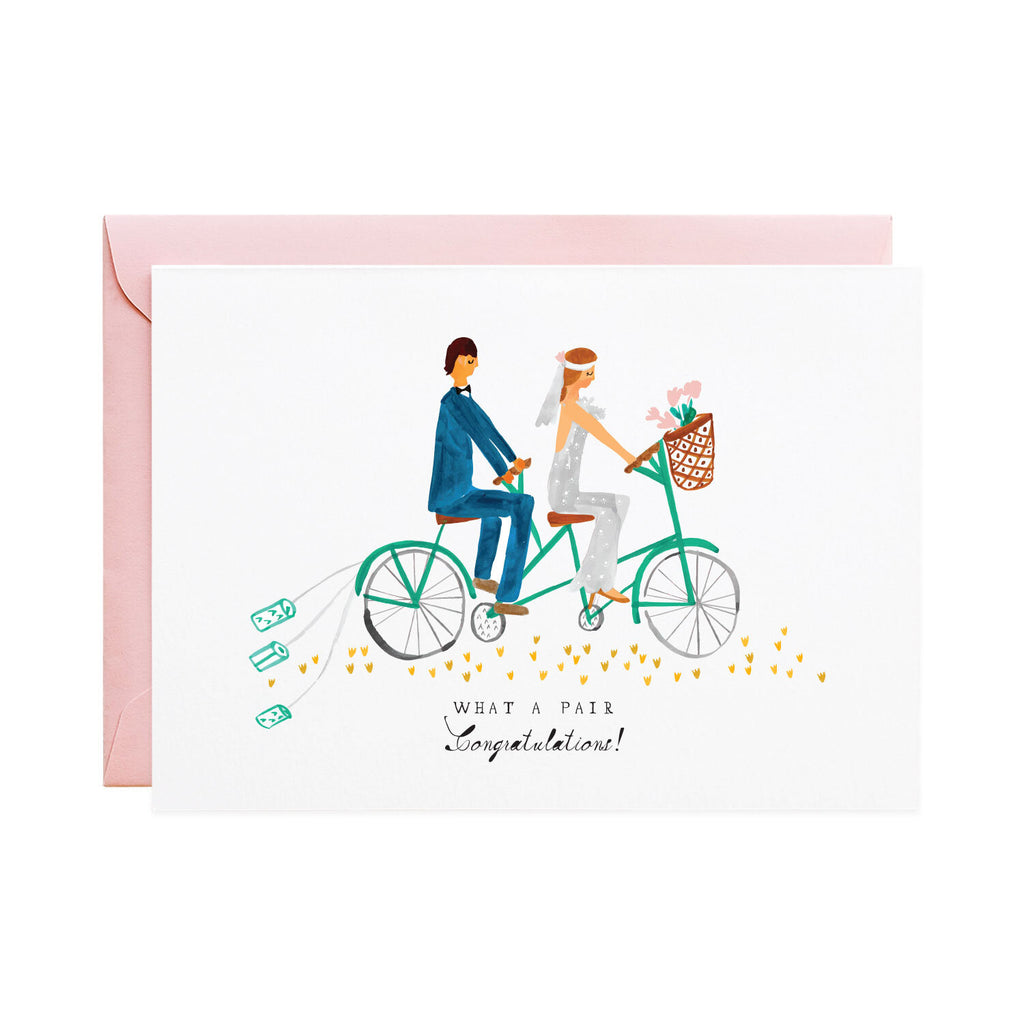 'Tin Cans on the Tandem' Wedding Card