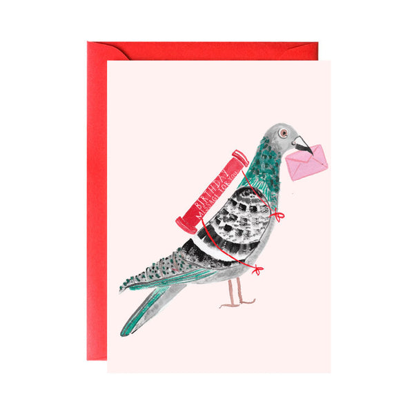 'Pigeon with Balloon' Greeting Card