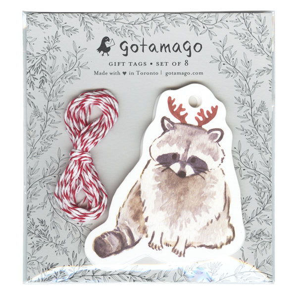 Die-Cut Antler Raccoon Gift Tags (Set of 8)