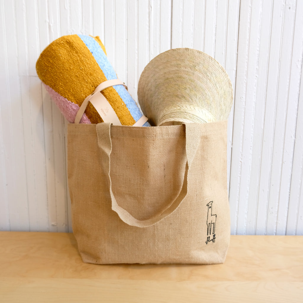 Fluff Alpaca Carry-All Burlap Tote Bag