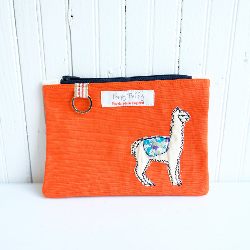 Fluff Alpaca  x Poppy Treffry Flat Embroidered Purse with Key Ring