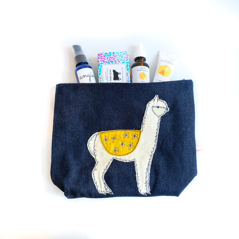 Fluff Alpaca x Poppy Treffry Embroidered Wash Bag