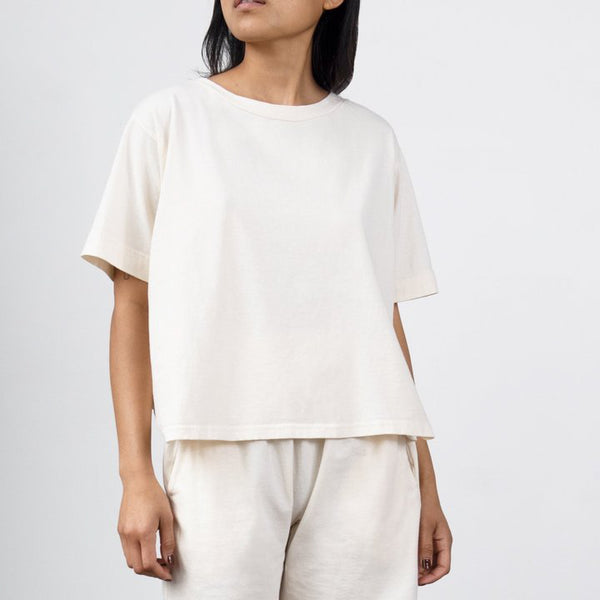 Wol Hide Easy Box Tee in Natural