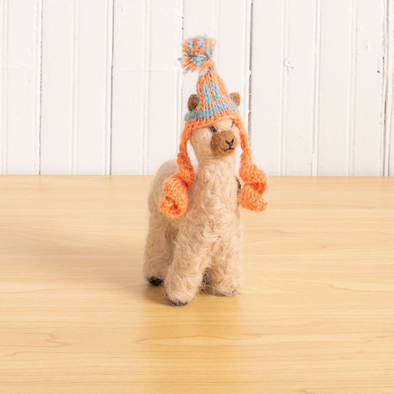 Felted Alpaca Cria with Hat