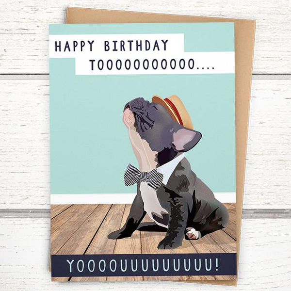 'Frenchie Singing Happy Birthday' Card