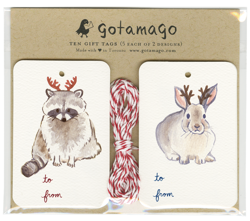Holiday Antler Animals Gift Tags