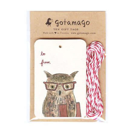 Reading Owl Gift Tags (Set of 10)