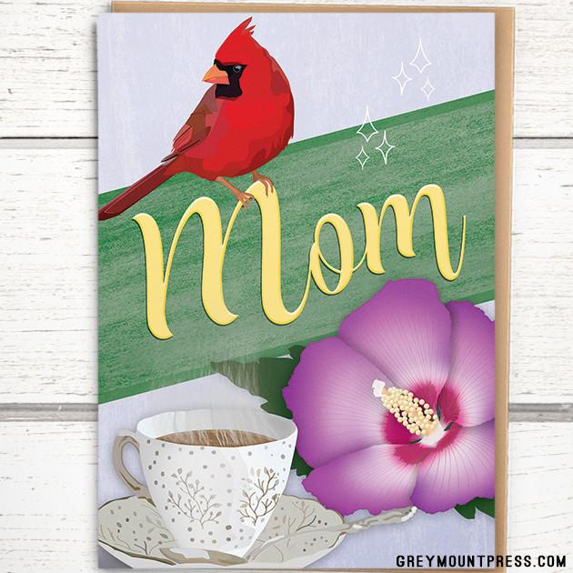 'Cardinal, Cup of Tea, Rose of Sharon' Mother's Day Card