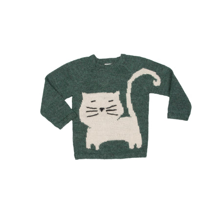 Nanay Green Sweater with White Cat