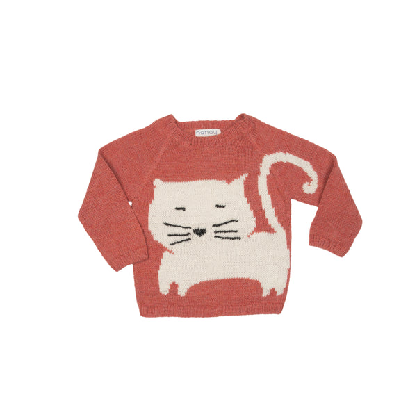 Nanay Pink Sweater with White Cat