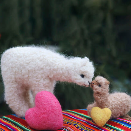 Needle Felted Sweet Mother and Baby Alpaca