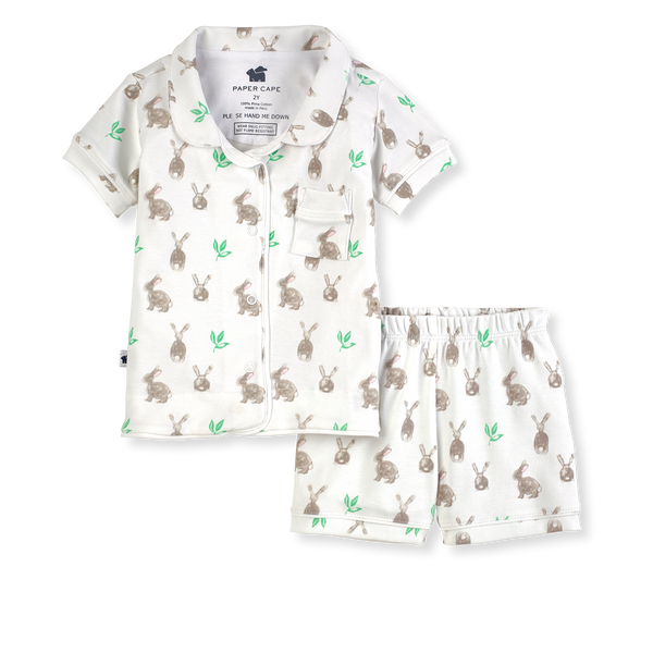 Paper Cape Short Sleeve Classic Pajamas - Bunny Print