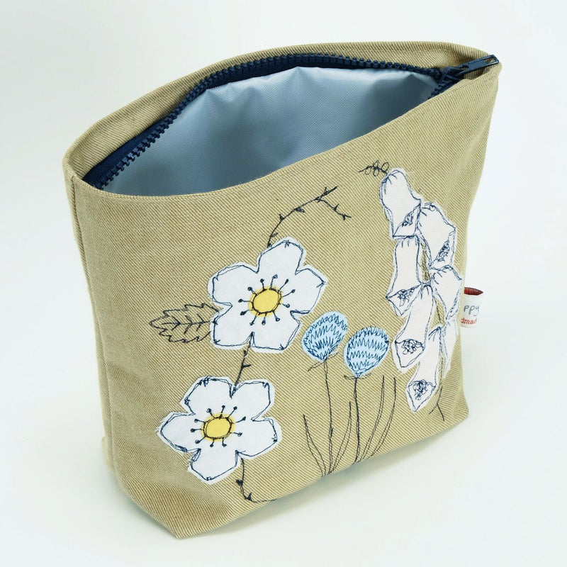 Wild Flowers Embroidered Wash Bag