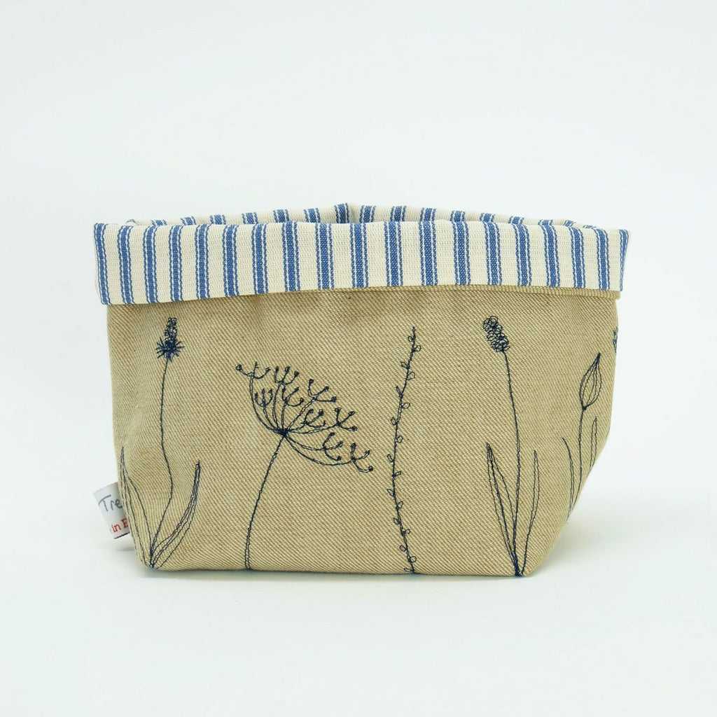 Wild Flowers Embroidered Storage Pot