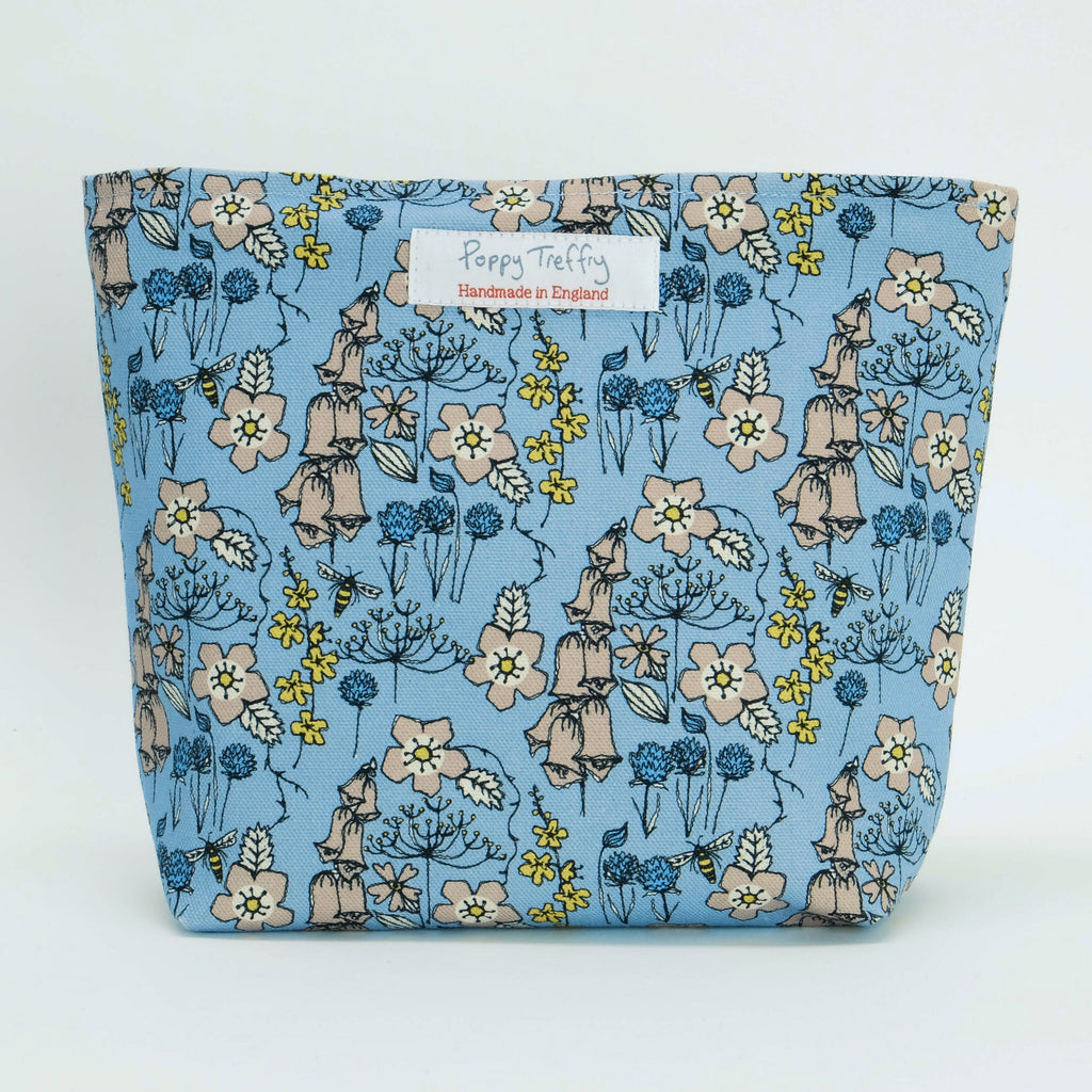 Wild Flowers in Blue Big Makeup Bag