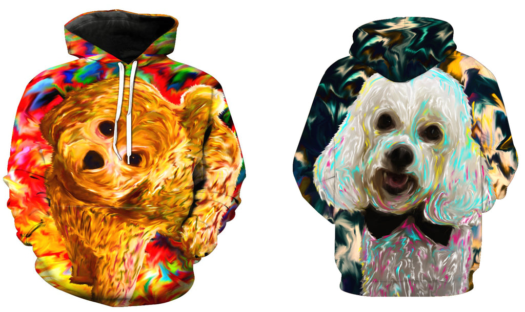 825af060393b Bichon Double side 3D printed long sleeve hoodie with hat and pocket ...