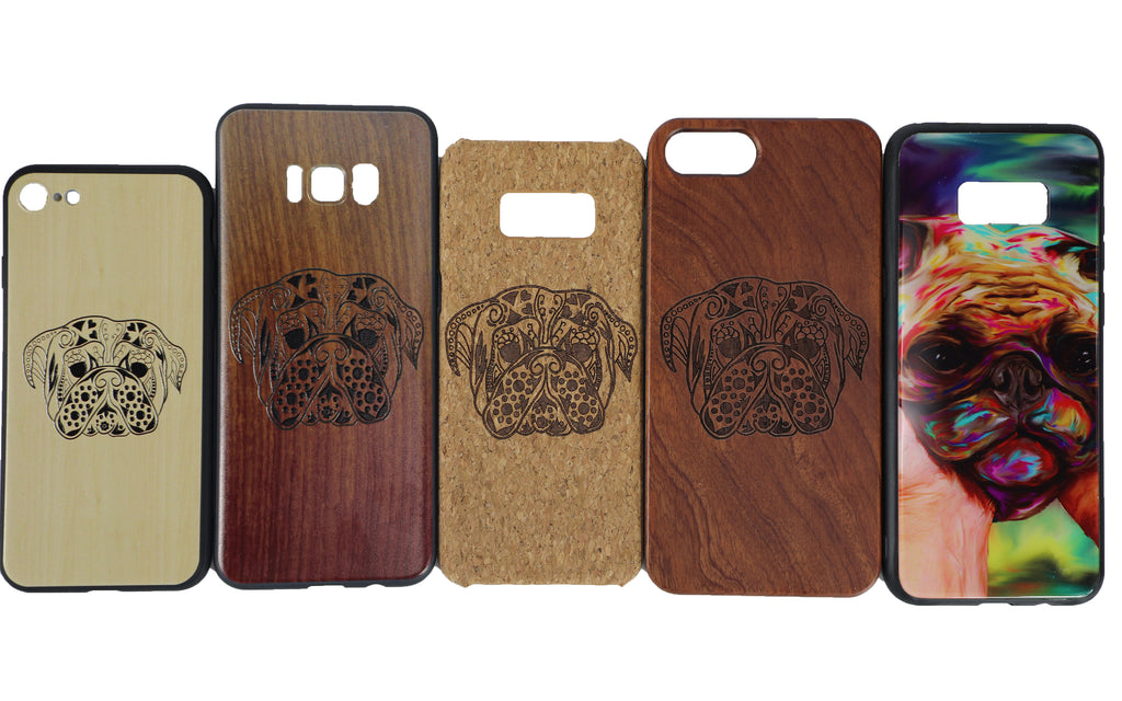 new styles b082d f13fa Pug design cellphone case on mirror, real wood, wood corks, wood ...