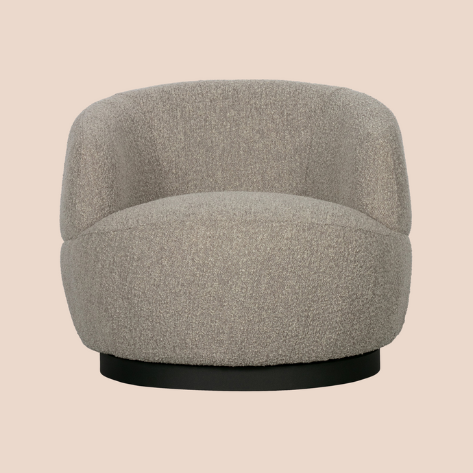 chunky swivel chair bouclé
