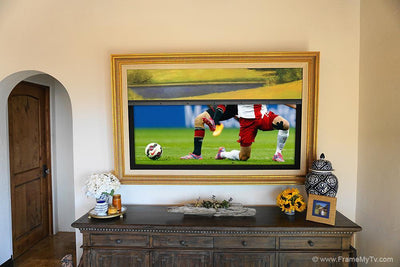 tv frame with motorized painting