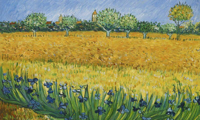 8045 - View of Aries with Irises by Vincent Van Gogh