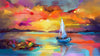 Colorful oil painting on canvas texture. Impressionism image of seascape paintings with sunlight background to Hide a TV