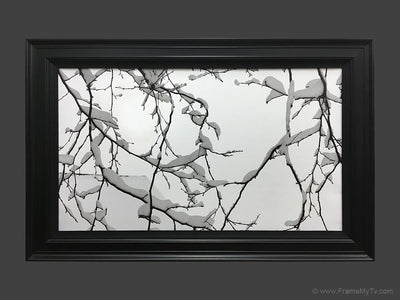 flat screen tv in frame with art