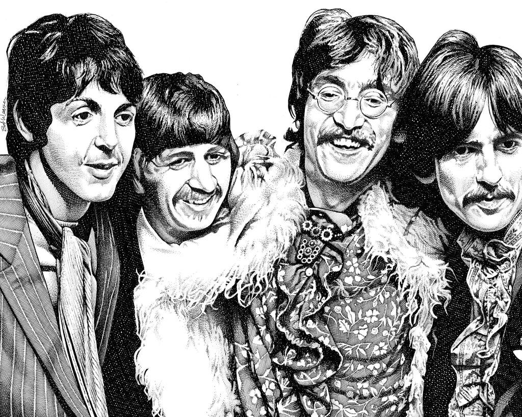 The Beatles Artist Bob Weaver pen and ink drawing legendary rock band wall art canvas wrap giclee print gift