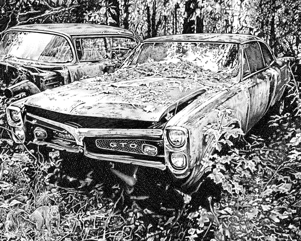 Pontiac GTO Artist Bob Weaver pen and ink drawing mancave man cave wall art classic car canvas wrap giclee print gift for dad