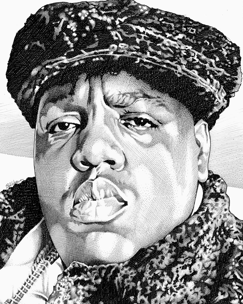 Notorious BIG Biggie Smalls Big Papa Frank White east coast rap Artist Bob Weaver Art Drawing Canvas Wrap Giclee art print
