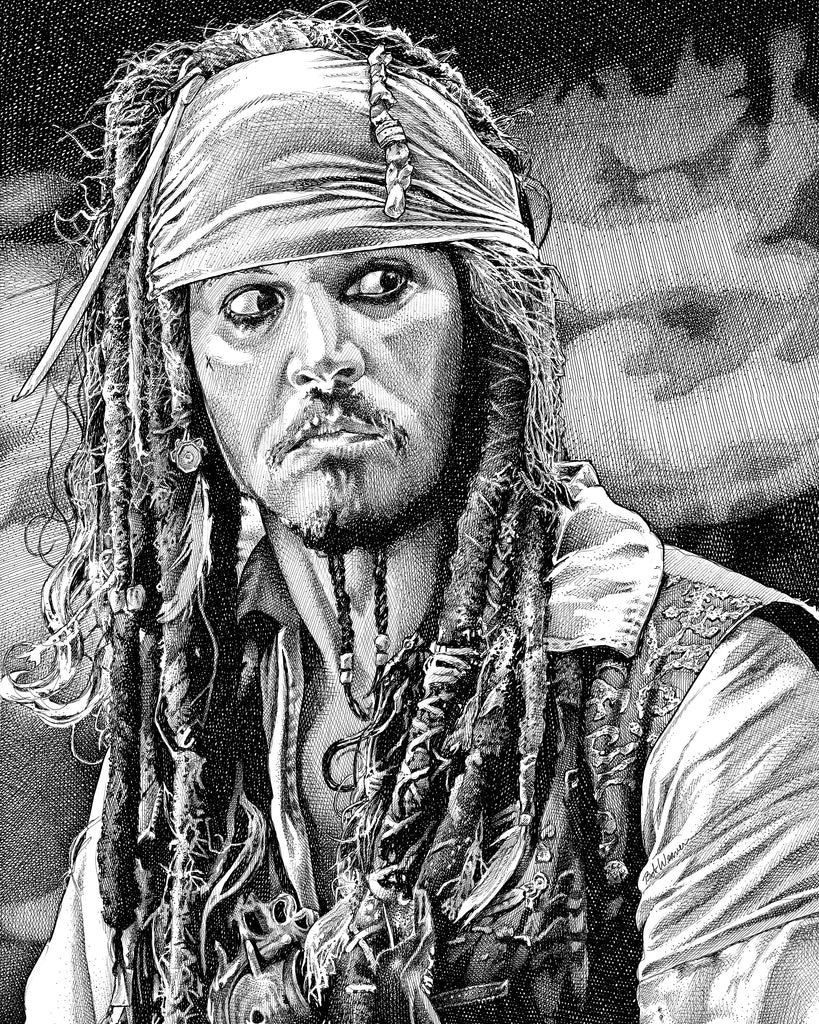 Captain Jack Sparrow Johnny Depp Pirates of the Caribbean Artist Bob Weaver pen and ink drawing wall art canvas wrap giclee print gift