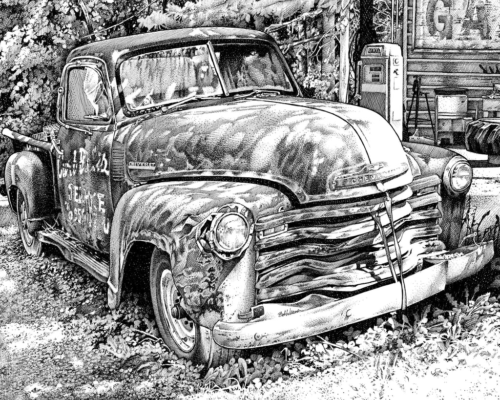 Chevy Truck Classic Pen and Ink Drawing Artist Bob Weaver Giclee Art Print Canvas Wrap