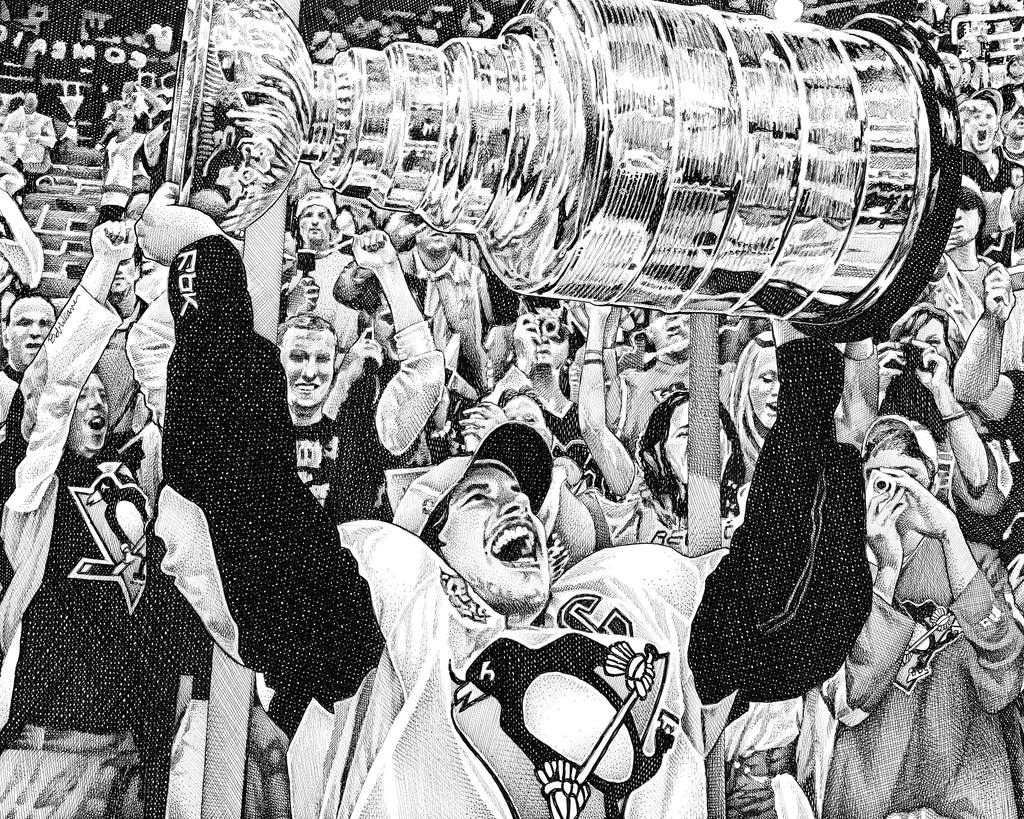 Sidney Crosby 2017 Stanley Cup Champions Pittsburgh Penguins Bob Weaver Artist Pen and Ink Drawing Giclee Art print Canvas Wrap Playoffs