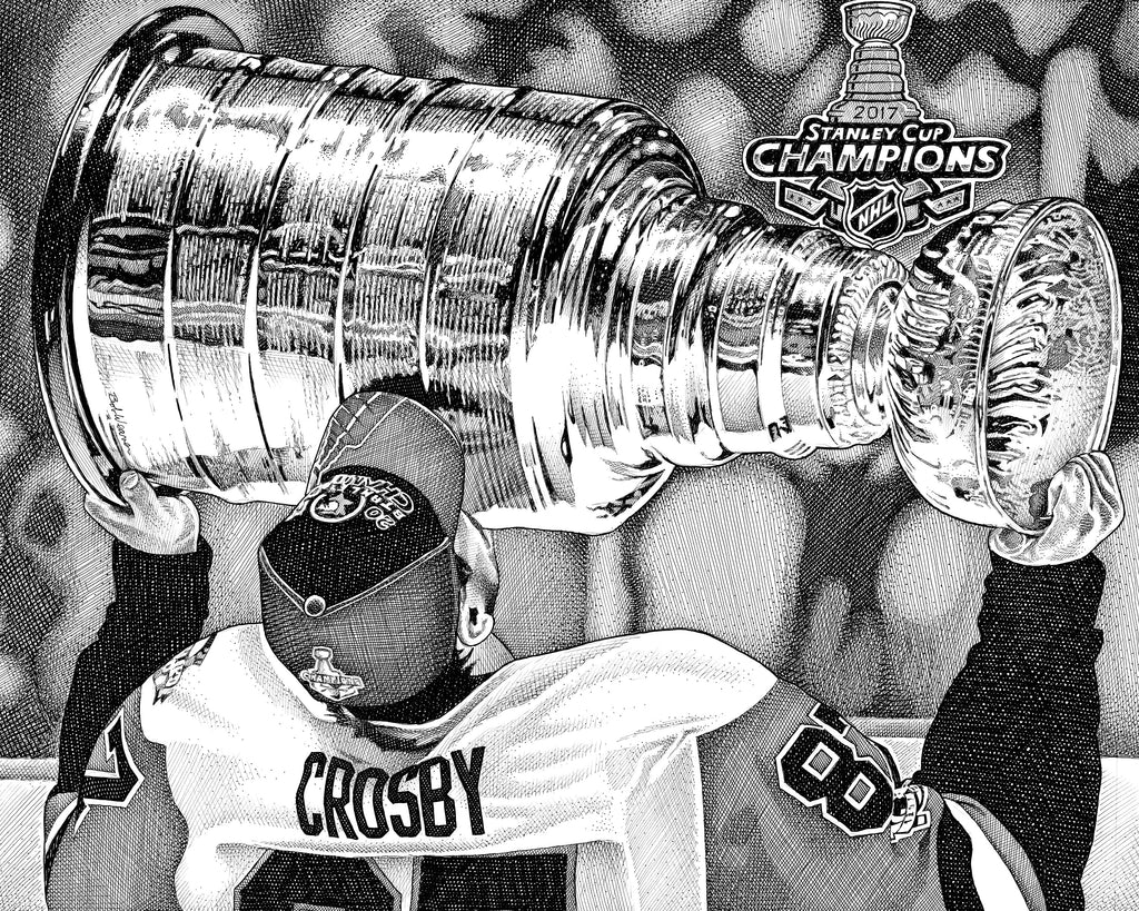 Sidney Crosby Stanley Cup Pittsburgh Penguins Artist Bob Weaver Pen and Ink Canvas Wrap Giclee art print NHL Hockey