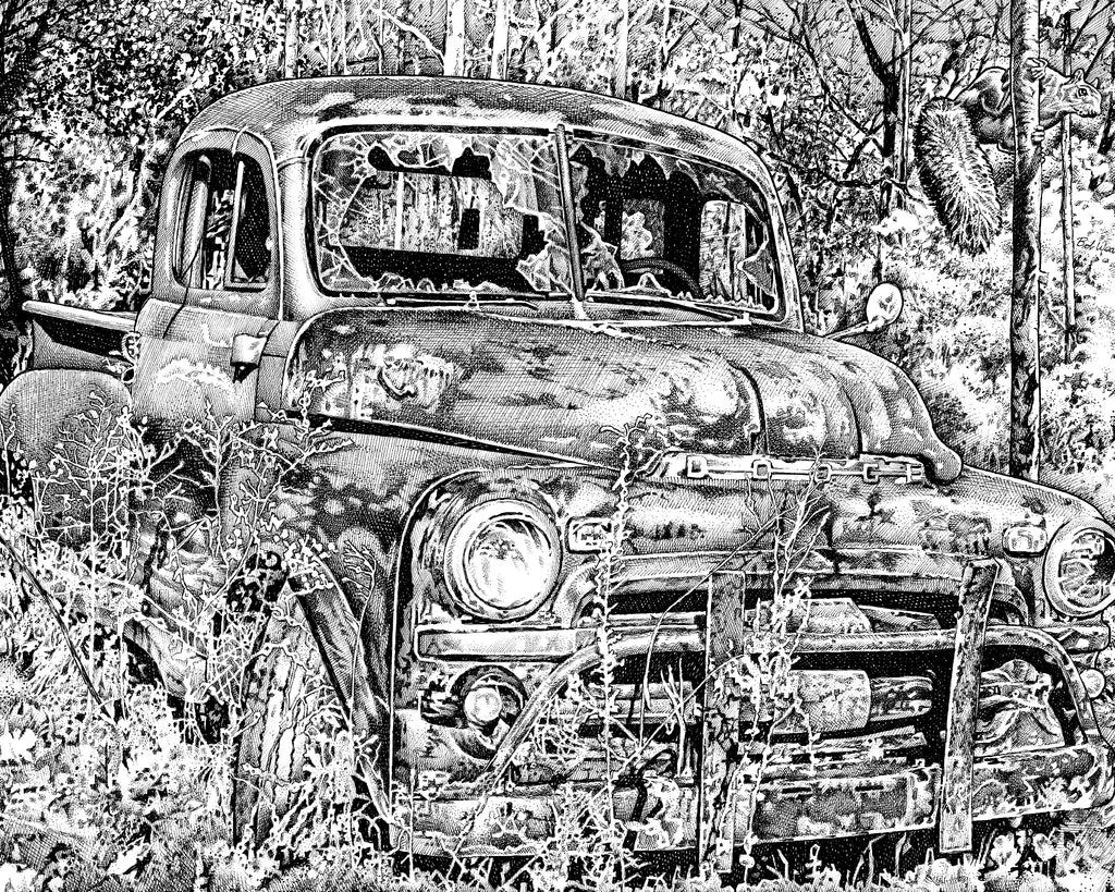 Dodge Truck classic cars artist Bob Weaver pen and ink drawing man cave mancave art canvas wrap giclee print