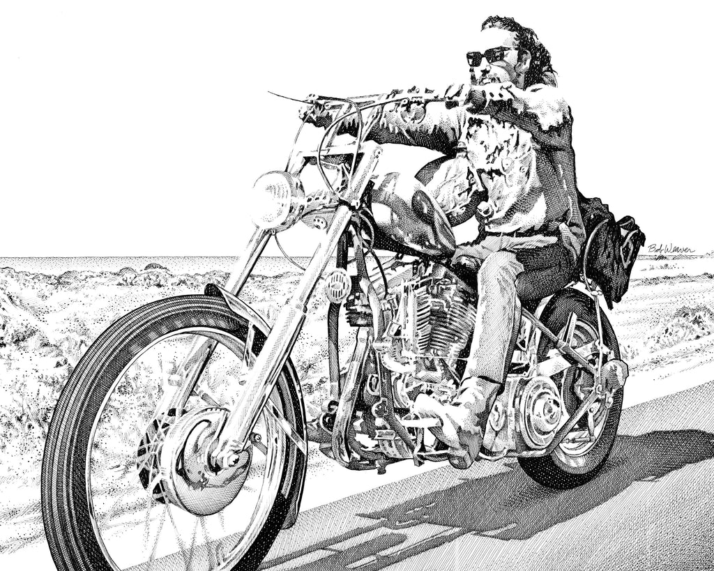 Easy Rider Movie Peter Fonda Dennis Hopper Artist Bob Weaver pen and ink drawing wall art man cave mancave classic motorcycles custom cycles harley davidson harley-davidson