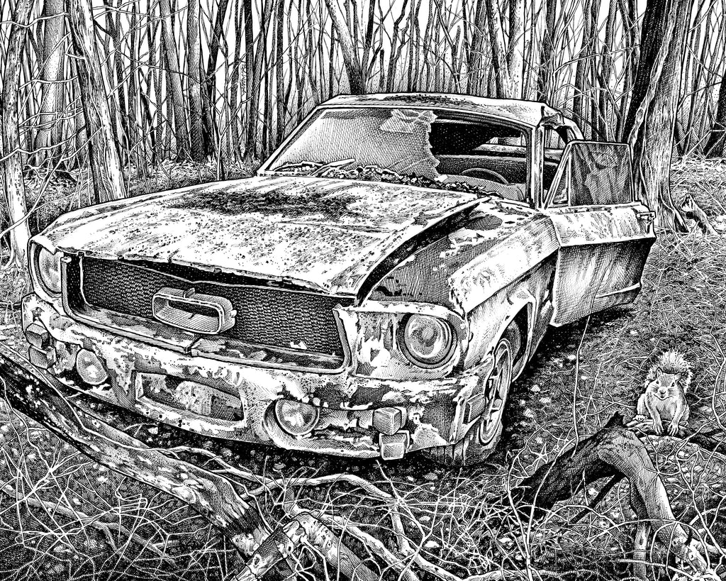 Ford Mustang Artist Bob Weaver pen and ink drawing man cave mancave wall art classic cars car