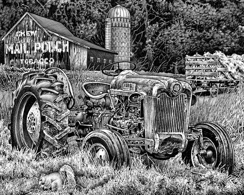 Ford Tractor Artist Bob Weaver mancave man cave wall art pen and ink