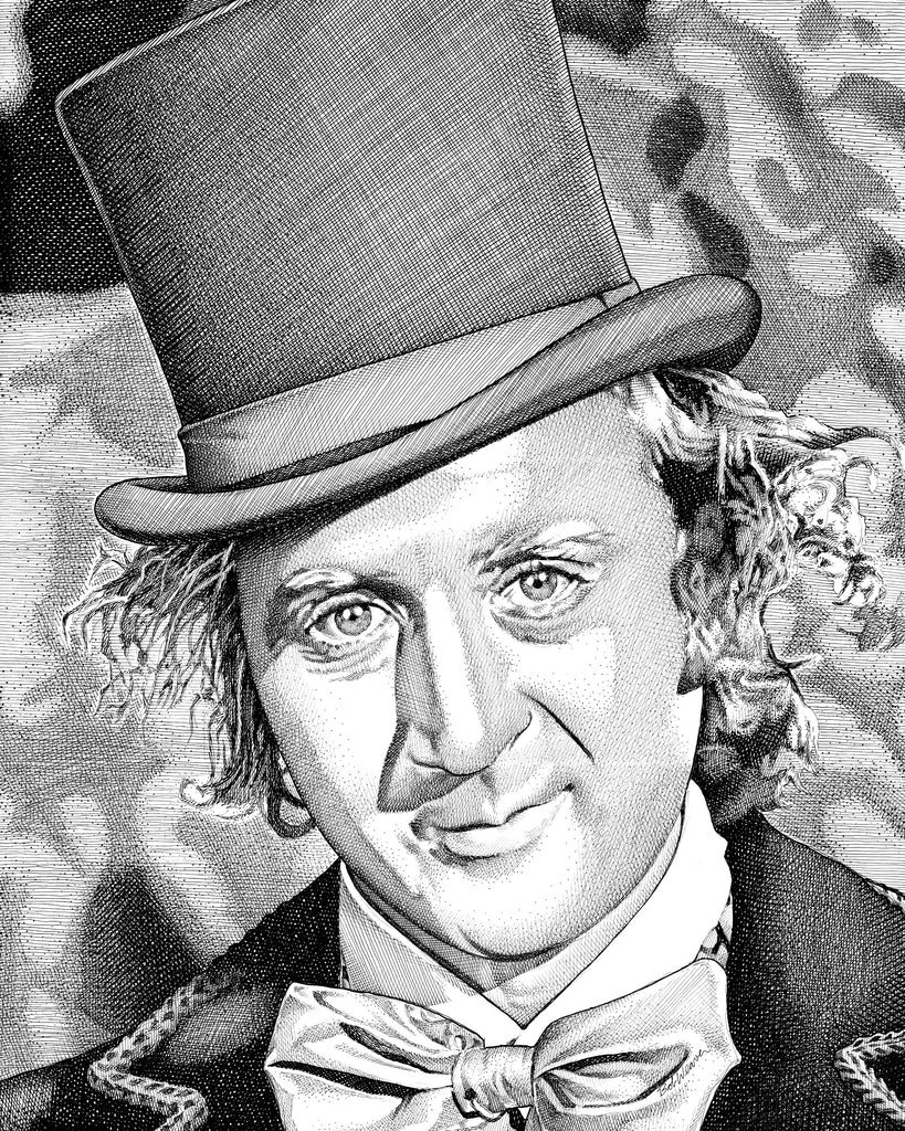 Gene Wilder | Willy Wonka Artist Bob Weaver pen and ink drawing wall art canvas wrap giclee print