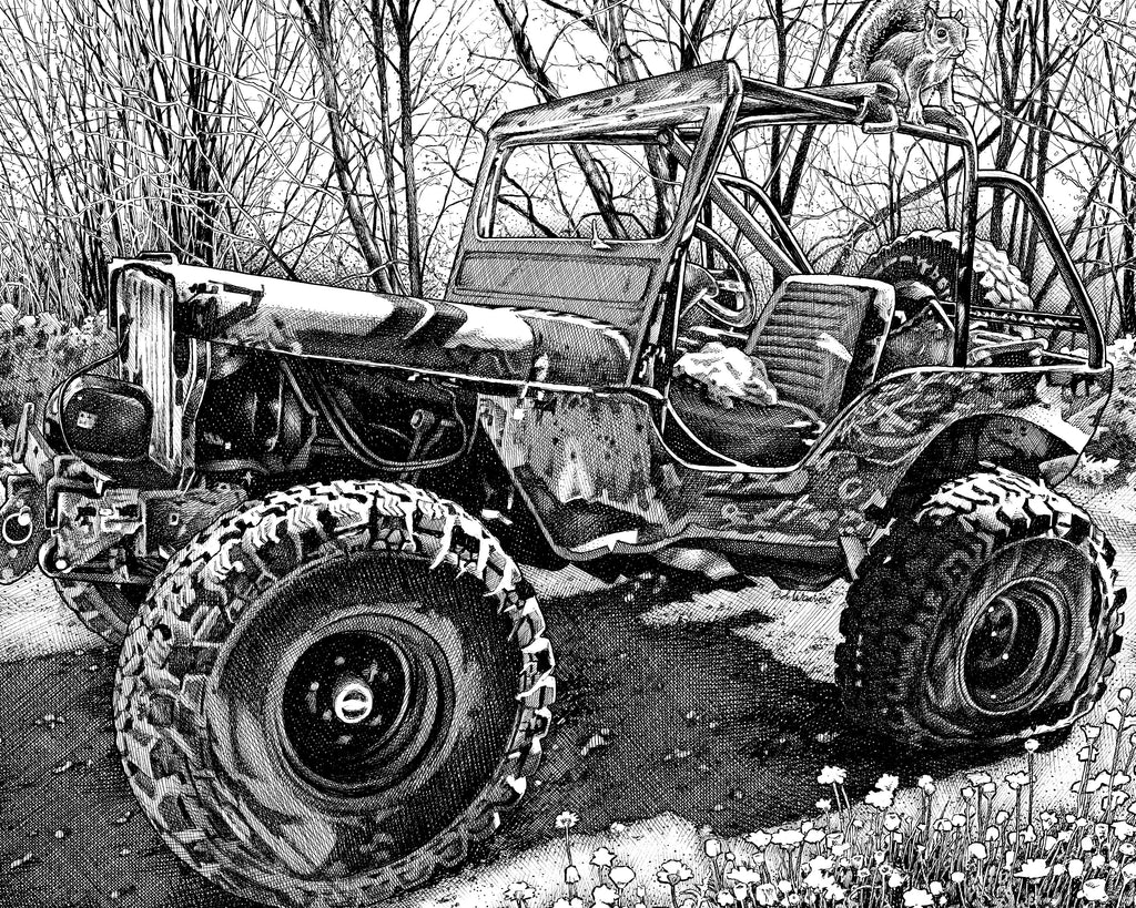 Jeep Willie Classic off-road Artist Bob Weaver pen and ink drawing mancave man cave wall art canvas wrap giclee print gift for dad