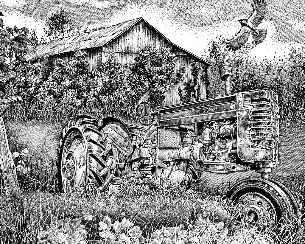 John Deere farm tractor Artist Bob Weaver pen and ink drawing mancave man cave wall art gift for dad canvas wrap giclee print