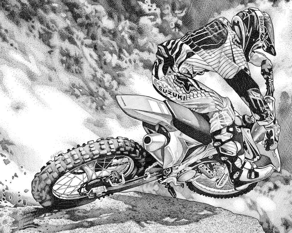 Motocross Artist Bob Weaver pen and ink drawing motorcycle racing mancave man cave wall art gift for dad
