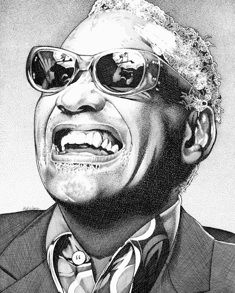 Ray Charles Artist Bob Weaver pen and ink drawing wall art canvas wrap giclee print