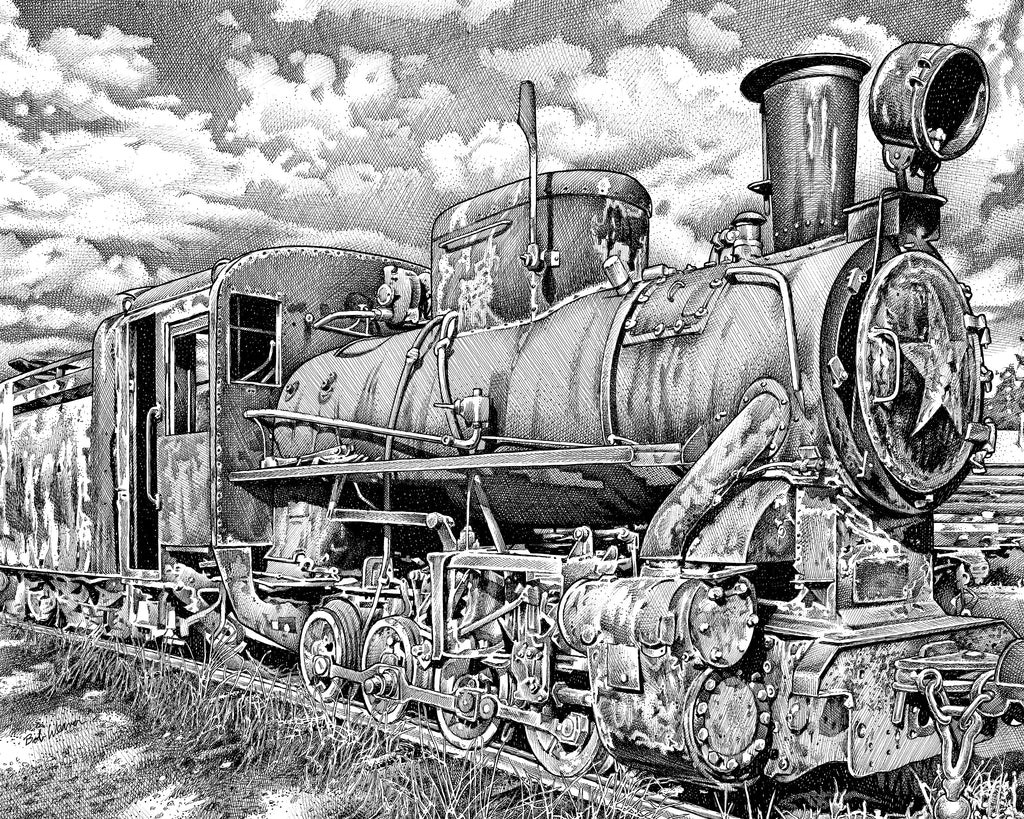 train artist Bob Weaver pen and ink drawing mancave man cave wall art gift for dad canvas wrap giclee print