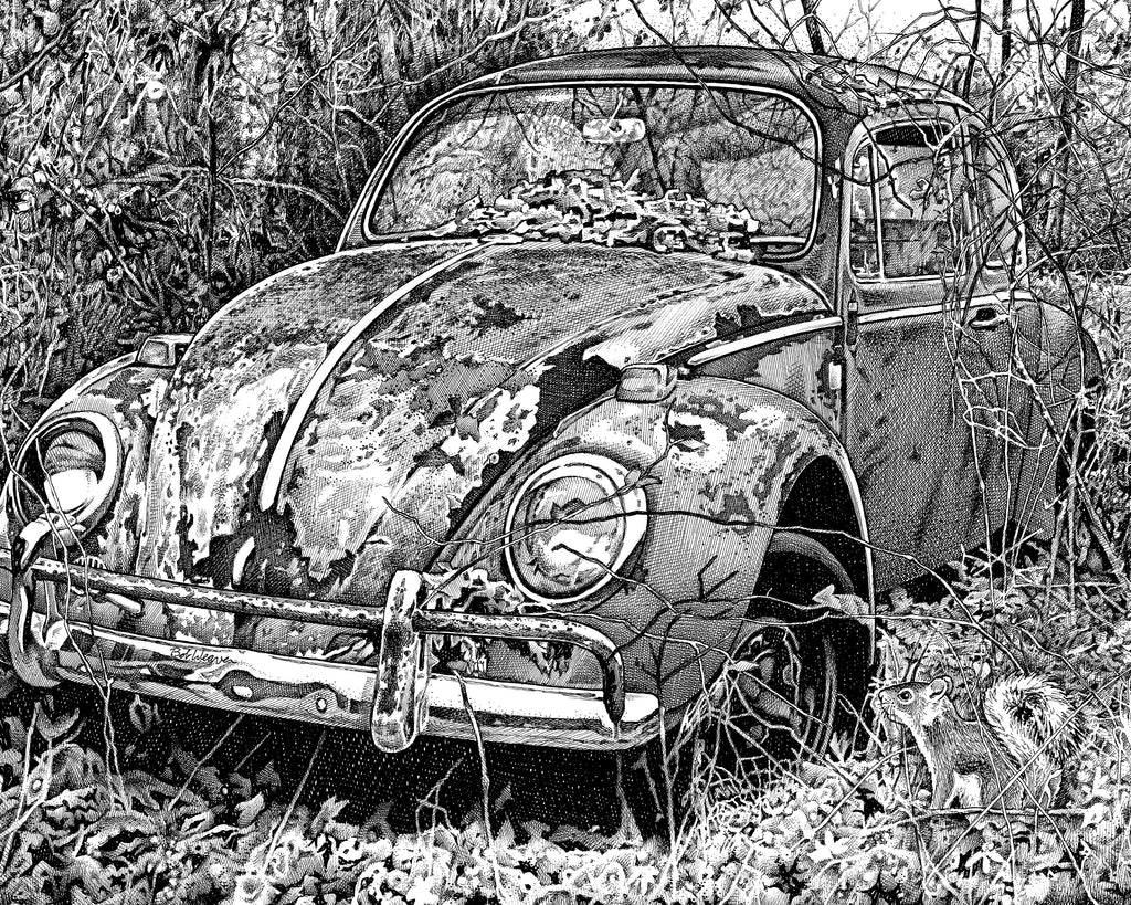 Volkswagen Beetle VW Bug Artist Bob Weaver pen and ink drawing mancave man cave wall art classic car cars giclee print canvas wrap