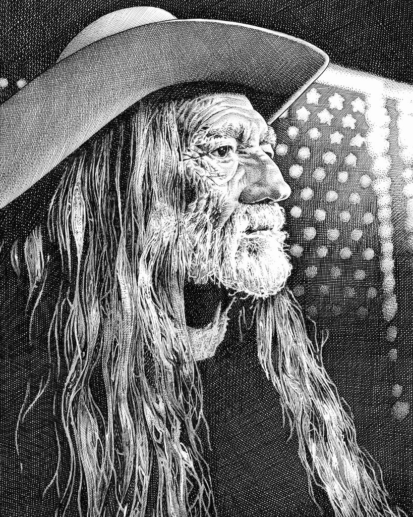 Willie Nelson Artist Bob Weaver pen and ink drawing wall art canvas wrap giclee print country music legend
