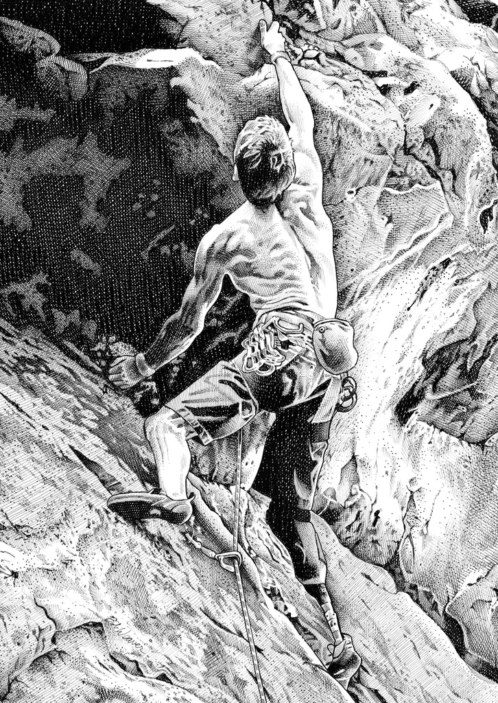 Rock Climber Amputee Artist Bob Weaver pen and ink drawing wall art canvas wrap giclee print