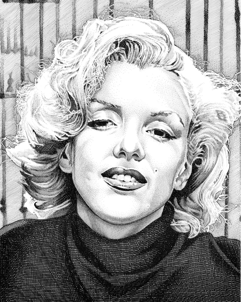 Marilyn Monroe Artist Bob Weaver pen and ink drawing wall art canvas wrap giclee print
