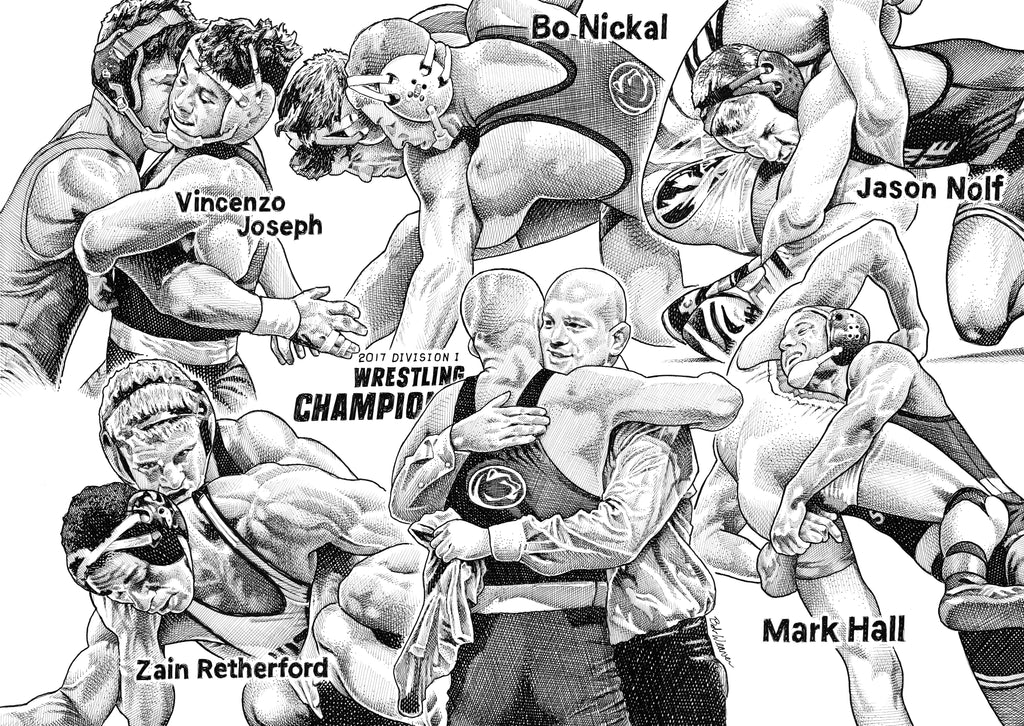 Penn State 2017 Wrestling Champions Artist Bob Weaver pen and ink drawing mancave man cave wall art canvas wrap giclee print gift for dad
