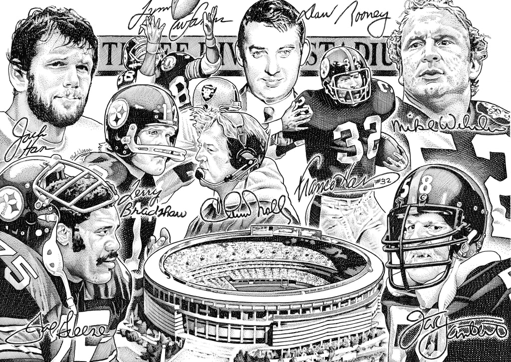 Three Rivers Steelers Artist Bob Weaver NFL Football pen and ink drawing man cave mancave wall art gift for dad canvas wrap giclee print
